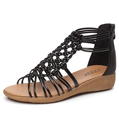 2019 Nuovi sandali europei e americani di stile di moda estate femminile Bohemia piatto studenti semplice pelle selvaggia cintura sottile tessuto spiaggia sandali delle donne,Black,35