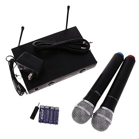 Gazechimp 2pcs Microphones Sans Fil Professionnels Portables + Récepteur à