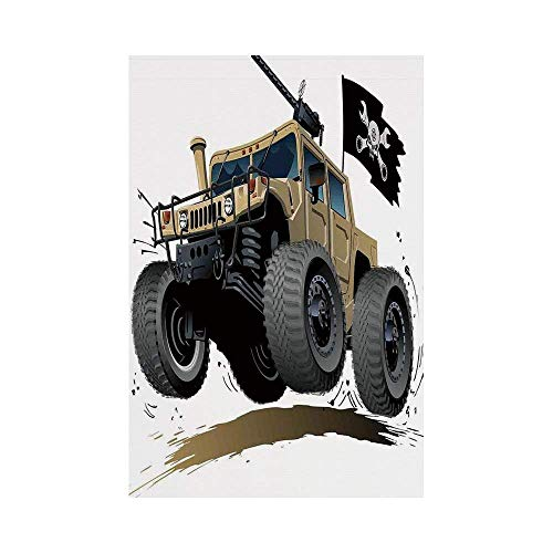 Liumiang Eco-Friendly Manual Custom Garden Flag Demonstration Flag Game Flag,Cars,Worldwide Off Road Famous Safari Rally Truck with Skull Pirate Flag Camouflage Design,Grey Brown d¨¦COR - Tapestry Garden Flags