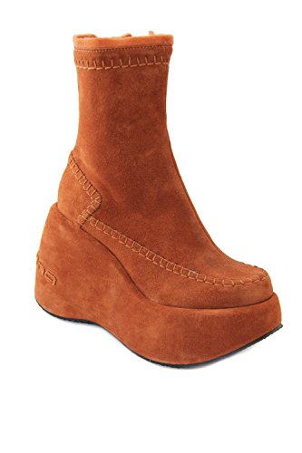 Fornarina Vintage Suede Boots with Wedge Heel (10 cm) PIFBU2202WS Violet, Rust Rust