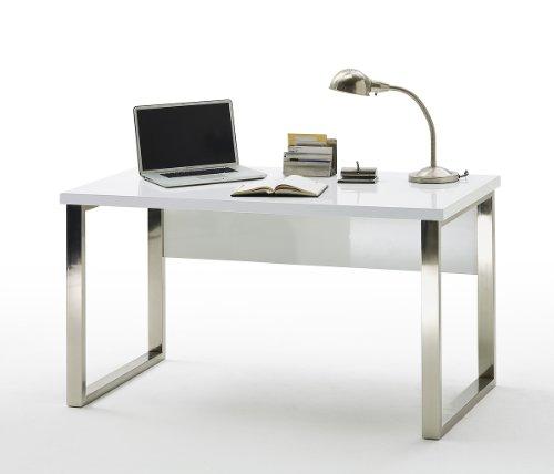 Robas Lund, Schreibtisch, Computertisch, Sydney III, Hochglanz/weiß/verchromt, 140 x 70 x 76 cm,  40121CW2 - 2