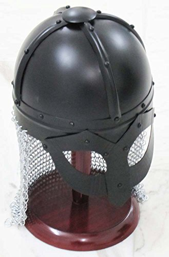 Shiv Shakti empresas Armour Medieval Noruega Viking casco gafas casco con chain-mail con soporte de madera