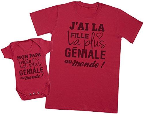 Zarlivia Clothing Mon Papa a la Fille la Plus géniale au Monde! - Ensemble Père Bébé Cadeau - Hommes T-Shirt & Body bébé - Rouge - M & 6-12 Mois