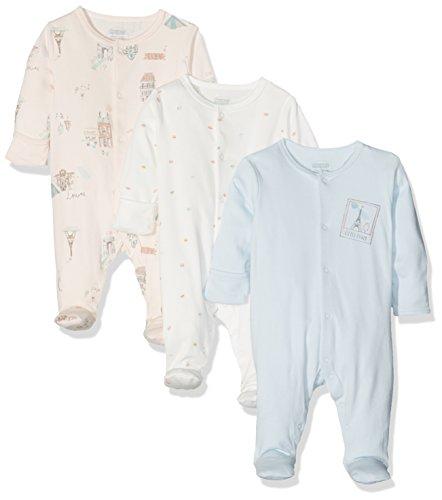 ädchen Schlafstrampler 3PK Paris Sleepsuits, 3er Pack, Multicoloured (Pink/Blue/Cream), 68 (Paris Baby)