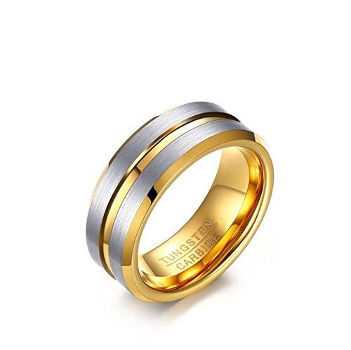 Blisfille Herrenring Vergoldet Ringe Herren Islam Herrenringe Wolframcarbid 8mm Goldringe Band Ring Gr. 62 (19.7) - Mens Pimp Passt