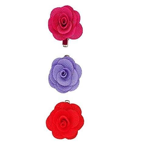 Lux Accessoires Clips Fleur en tissu rouge (Lot de 3)