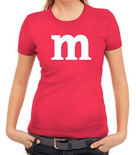 Karneval Fasching Junggesellenabschied Damen T-Shirt Gruppen & Paar Kostüm mit M Aufdruck, Größe: S,pink (Frauen Gruppe Halloween Kostüm Ideen)