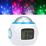 Best Gift Romantic Starry Projector Music Alarm Clock Kid Favoured Star Projection Night Light Children Dreamlike Sleeping Projector Lamp with Alarm Clock, Calendar, Thermometer and Music