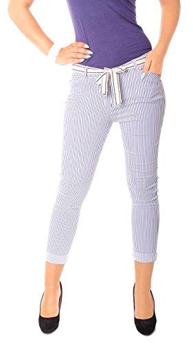 Fragolamoda Damen Sommer Hose Zigarettenhose Stretch Röhrenhose Capri 7/8 Lang Gestreift Marine Weiß S - 36 - Weiß Und Gestreiften Stoff Blau