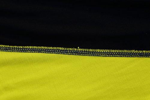 Pizoff Unisex Hip Hop Urban Basic T-shirt lunga con busto a contrasto Y1293-Yellow
