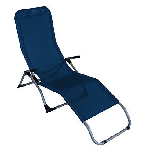 Kippliege SYLT, Stahl grau + Textilene blau,klappbar, für Innen + Außen