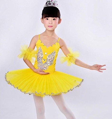 Strapse Tanz Kostüm - Ballett weiß Pailletten Strap Tanz Rock Kind Ballett Kostüm (4 Farben), 120cm, 4