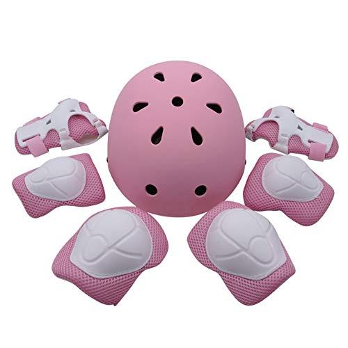 JIE KE Kinderhelm for Fahrrad/Laufrad, Knieschutz, Ellbogen, Handgelenk, Kopf, 7-teiliges Set (Color : Pink)