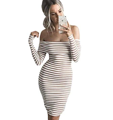 WanYang Donne Vestiti Manica Lunga Maglione Mini Abito Sexy Moda Slim Fit T-shirt Jumpsuits Off Spalla Banda