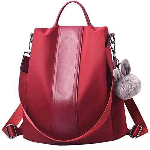Dorical Rucksack Handtasche für Damen Frauen Rucksack Wasserdichte Nylon Schultaschen Anti-Diebstahl Tagesrucksack Schulrucksack,Umhängetasche, Backpack Schultertasche Tasche(Rot)