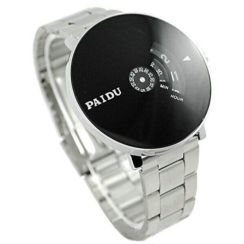 Yogogo Herren Quartz Analog Armband , 1 Cent Artikel Armbanduhr | Edelstahlband | Dekoration | Geschenk | Alugehäuse | Quarzwerk | Wasserdicht | Sportuhr | Drehscheibe Dial | 20.5cm Bandlänge (Silber)