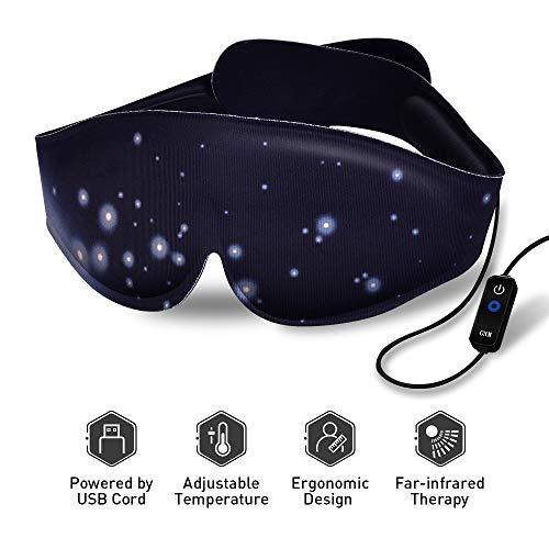 Beheizte Augenmaske Beheizte Schlafmaske mit einstellbarer Temperatur, Elektrische Augenmaske mit ferninfrarot-Physiotherapie für trockene und geschwollene Augen, Augenbehandlung mit dunklen Augen