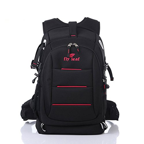 Waterproof Nylon Camera Backpack Outdoor Multifunctional Lightweight Anti-theft SLR Camera Rucksack for Laptops Tablets Canon Nikon Camera Accessories BLACK for Men/Women , Black Red (Burton Clothing Womens)