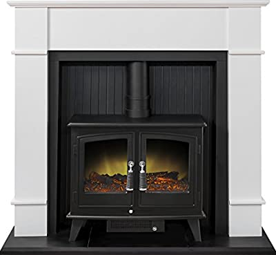 Adam Oxford Stove Suite in Pure White with Woodhouse Electric Stove, 48 Inch