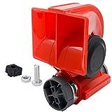 MASO 12V Kompressor Fanfare 130dB Druckluft Horn Hupe Rot Kompressor Lufthorn für LKW PKW Boot