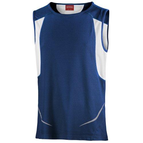 Spiro - Camiseta de deporte transpirable sin mangas para hombre - Ideal Running/Gym y otros deportes (Pequeña (S)/Azul marino/ Blanco)