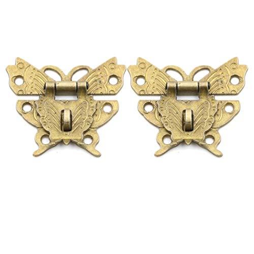 BraveWind 2 Set Vintage Schmetterling Knüpfhaken Schnappverschluss Schlosskiste Werkzeug Holz Schmuckkästchen Schlösser