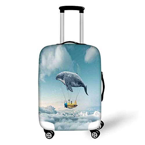 Travel Luggage Cover Suitcase Protector,Airplane Decor,Dream Airship Fairy Fantasy Over The Clouds Cloudscape Whale Earth Planet Decorative,Grey Yellow Blue,for Travel L