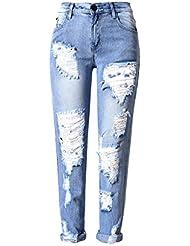 SaiDeng Mujeres Vaqueros Pantalones Mezclilla Agujeros Denim Jeans Ocio Estilo Boyfriend Zarco 36
