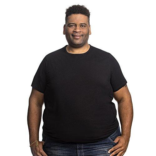 T-Shirt Herren Rundhals Doppelpack Basic 2 Stück Tshirt Übergrößen XL - 8XL für Männer mit Übergröße Bauchumfang 6XL-B Schwarz