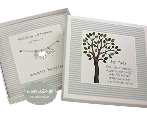 Kette Lebensbaum Kreuz 925 Silber mit Gravur und Geschenkbox Taufkette Patengeschenk Junge Mädchen Schmuck Geschenk zur Taufe Kommunion Geburt Taufschmuck HANDMADE IN GERMANY