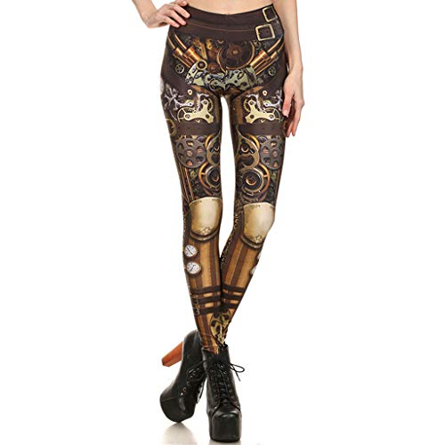 AmyGline Damen Hosen Steampunk Retro Leggings Comic Cosplay Print Gothic Hose Stretchy Skinny Pants Leggings Sommerhose Sweatpants Freizeithose