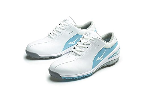 Ladies 2017 Mizuno NEXLITE SL Ultra-Light Spikeless Womens Golf Shoes - Waterproof - White/Sax 11UK