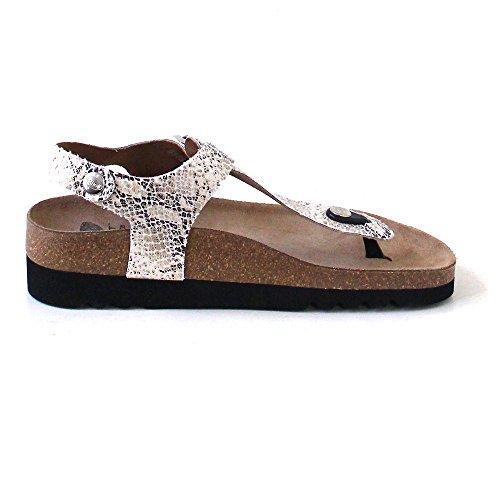Scholl - Scholl Boa Vista Phyton Beige sandalo Pantoletten pantofole donna dieci rappresentanti Multicolore (Phyton Beige)