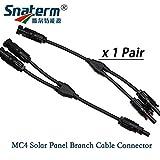 Ochos 1 paire de connecteurs MC4 en Y M/M/F et F/M/M, MC4 Y 2 mâles 1 femelles et 2 femelles 1 mâle panneau solaire...