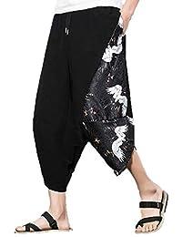 2dec52d8a4 Mymyguoe Pantalones Harem de Hombre Sueltos Pantalones Anchos de Pierna  Ancha Pantalón Ancho de piernas Anchas