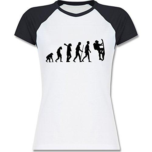 Shirtracer Evolution - Klettern Evolution - Zweifarbiges Baseballshirt/Raglan T-Shirt für Damen Weiß/Navy Blau