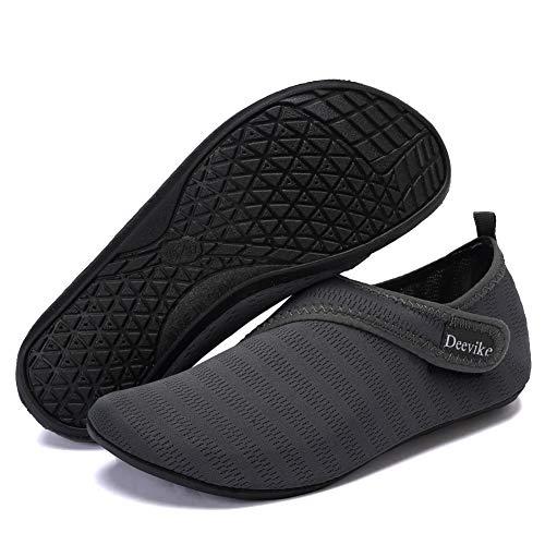 Deevike Damen Water Shoes Herren Barfuß Aqua Socken Slip on Yoga Übungsschuhe für Strandschwimmen Surf Pool Tauchen Dunkelgrau Straps 36/37