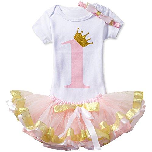 NNJXD Mädchen Newborn 1. Geburtstag 4 Stück Outfits Strampler + Tutu Kleid + Stirnband Größe (1) 1 Jahre Pink
