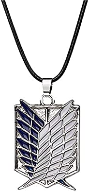 ZCHIKO Anime Attack on Titan Cartoon Survey Corps Logo Wings of Liberty Pendant Necklaces - Silver