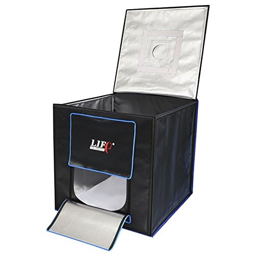 LIFE of PHOTO Ministudio Cube 70 Lichtbox mit intergrierter SMD LED-Beleuchtung Portable Photo Studio Cube