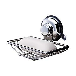 Wuudi Jabonera de Pared con Ventosa, SUS304 Acero Inoxidable Vacuum Estuche Ahorrar Jabón Estantería de Ducha Cocina