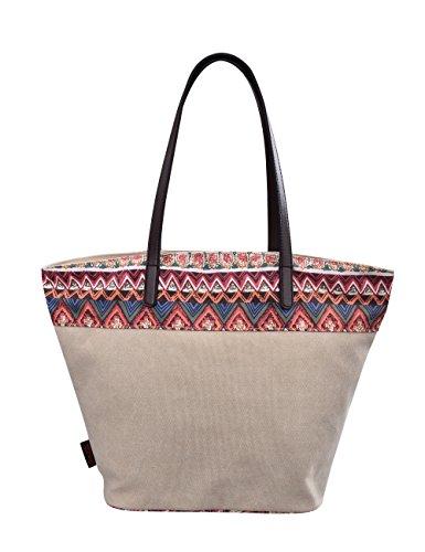 Douguyan tela di canapa variopinto di modo di svago del sacchetto di spalla della spiaggia all'ingrosso signore tote shoulder bag borse donna Ragazze canvas beach shopping women handbag 252F Rosa-62806