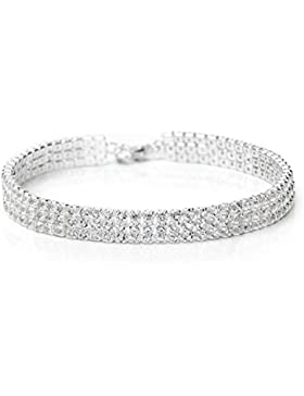 Neoglory Jewellery Silber Armkette Armband mit Strass Damen weiß Luxus elegant