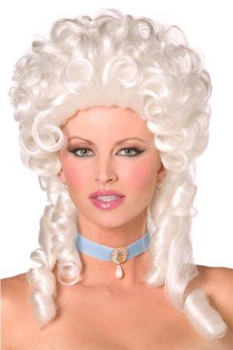 Weiße Barok Perücke Lady Diva Halloweenperücke Halloween Langhaar Locken Fürstin Weiß