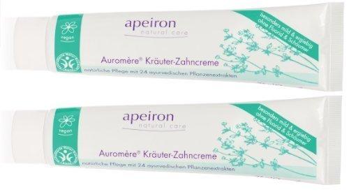 Apeiron Auromere Kräuterzahnpasta Zahnpasta Kräuterzahncreme 2x 75 ml Doppelpack (Zahnpasta Empfindlich)