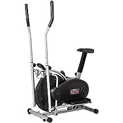 TecTake 1 Maquina fitness bicicleta eliptica gimnasia estatica entrenador cardio gimnasia con pantalla lcd
