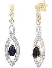 Naava Boucles d'oreilles Femme - 9 carats 375/1000 - avec 4 Diamants et Saphir