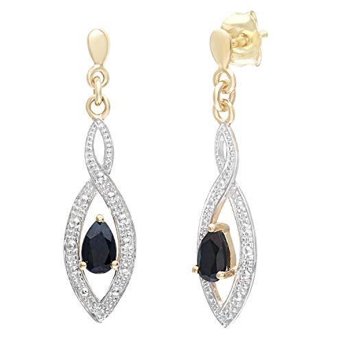 Naava Damen-Ohrhänger 9 K 375 Gelbgold Diamant Saphir PE03459Y SA