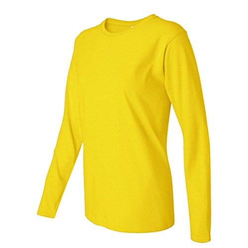 YiLianDa Femmes Automne Casual Chemise Manches Longues Coton T-shirt Top Blouse Pull Shirt Orange