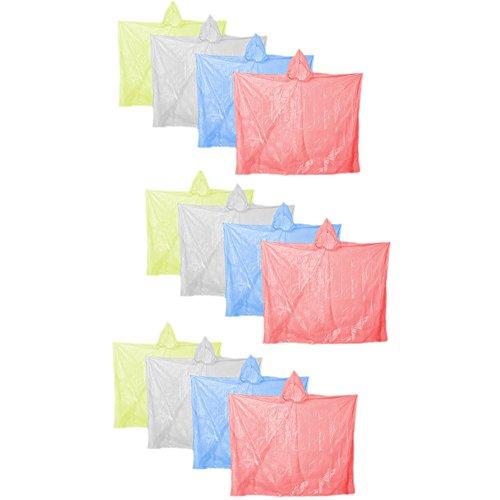 COM-FOUR® 12 Stück Sparset Einweg Regenponcho Notfallponcho Poncho mit Kapuze in verschiedenen Farben, gelb/rot/blau/transparent (Einweg 12er Set)